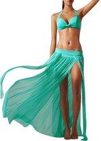 LETSQK Women's Sexy Low Waisted Flowy Slit Beach Maxi Skirt