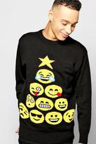 Boohoo Emoji Tree Christmas Jumper
