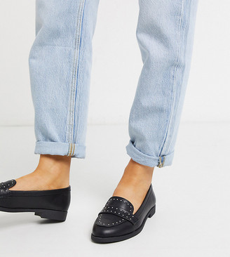 New Look Wide Fit studded loafers in black