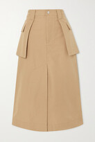 Thumbnail for your product : Ganni Layered Organic Cotton And Linen-blend Canvas Midi Skirt - Brown