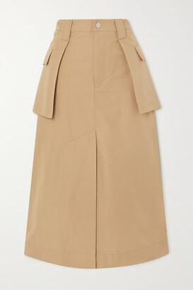 Ganni Layered Organic Cotton And Linen-blend Canvas Midi Skirt - Brown