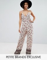 Sisters Of The Tribe Petite Printed Cami Strap Jumpsuit With Split Leg Detail