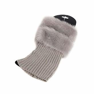 Gluckliy Womens Autumn Winter Faux Fur Knitted Crochet Leg Warmers Soft Boot Socks Boot Cuffs (Grey)