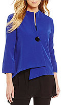 IC Collection One-Button Front Asymmetrical Stand Collar Jacket