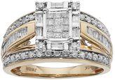 10k Gold 1 Carat T.W. Diamond Square Halo Engagement Ring