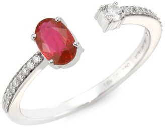 Hueb Spectrum Diamond, Ruby & 18K White Gold Open Ring
