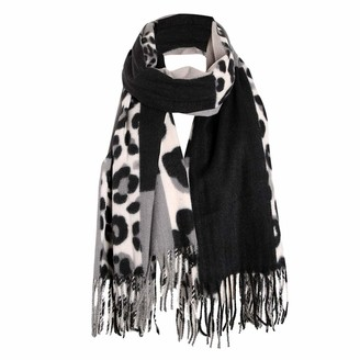 Musheng Scarf Leopard Print Scarves for Women Winter Warm Patchwork Animal Print Scarfs Tassel Long Neck Scarf Ladies Shawls Wraps (Black)