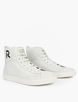 Raf Simons White Leather Monogrammed Sneakers