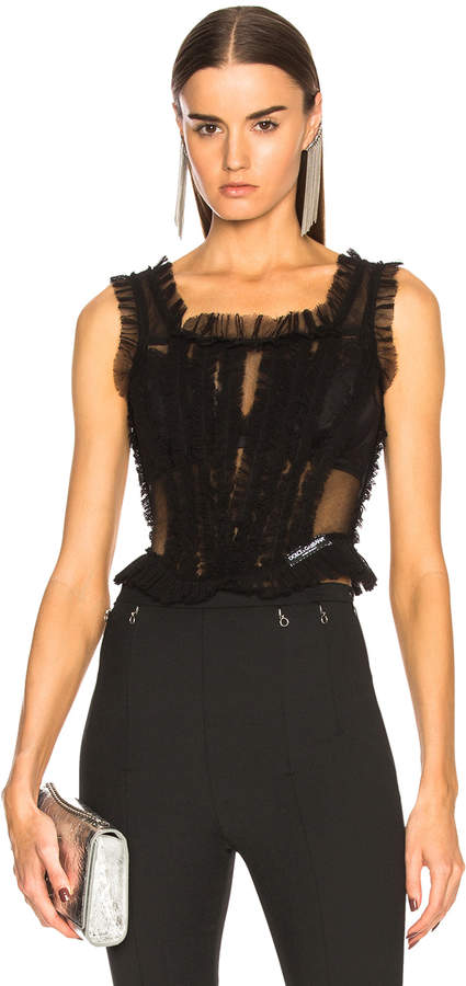 Dolce & Gabbana Tulle Sleeveless Square Neck Top