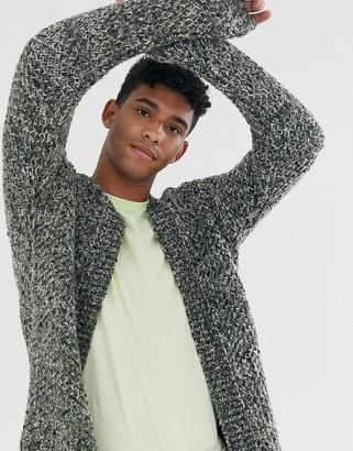 Asos Design DESIGN heavyweight cardigan in textured khaki slub yarn-Green