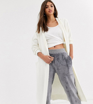 Micha Lounge relaxed maxi cardigan with hood-Grey