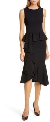 Michael Kors Asymmetrical Cascade Ruffle Sheath Dress