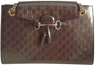Gucci Emily Grey Patent leather Handbags