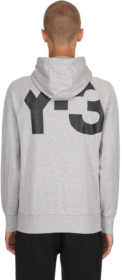 Y-3 Logo Zip-Up Cotton Sweatshirt Hoodie