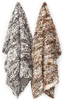 Adrienne Landau Leopard Print Fur Throw