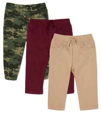 Garanimals Baby Boy Micro Peached Twill Pants & Joggers, 3-Pack