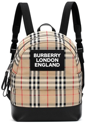 BURBERRY KIDS Vintage Check leather-trimmed canvas backpack