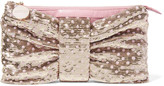 RED Valentino Sequin-embellished ruched leather clutch