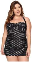 Lauren Ralph Lauren Plus Size Retro Dot Swim Dress Cover-Up