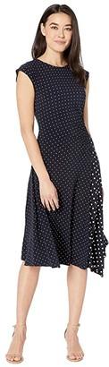 Lauren Ralph Lauren Petite Polka Dot Stretch Jersey Dress (Lauren Navy/Pale Cream) Women's Clothing