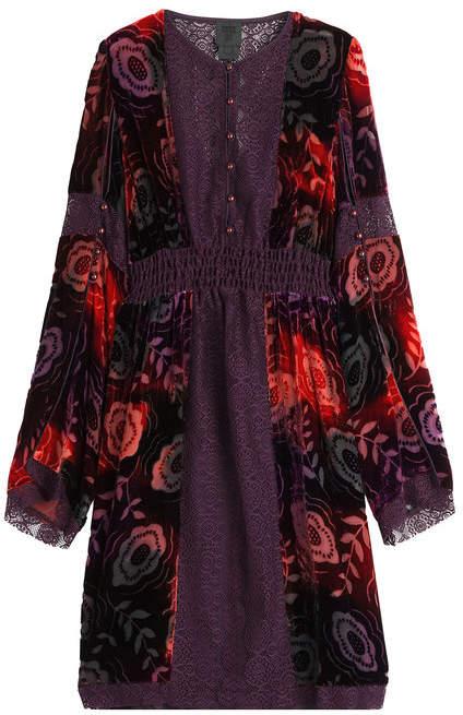 Anna Sui Velvet Dress with Lace Trims