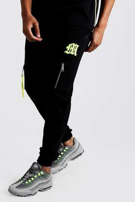 BoohoomanBoohooMAN Mens Black M Embroidered Utility Pocket Jogger, Black