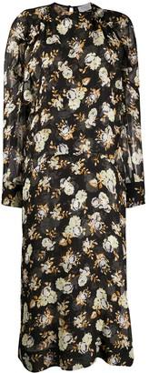 Victoria Beckham Rose-Print Draped-Sleeved Midi Dress