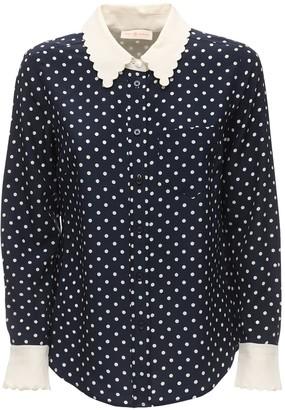 Tory Burch Polka Dot Silk Crepe De Chine Shirt