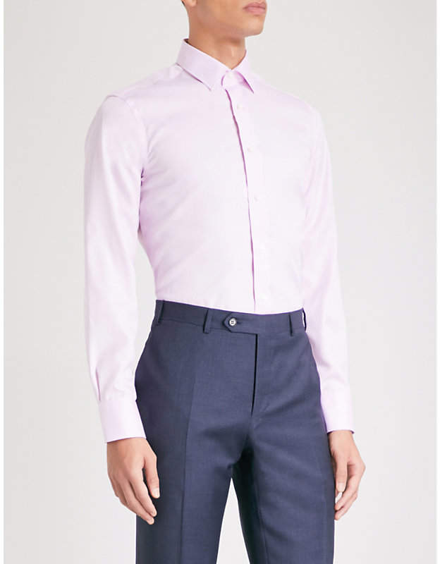 Canali Diamond-pattern impeccable-fit cotton shirt