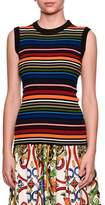 Dolce & Gabbana Sleeveless Crewneck Multicolor Striped Knit Top