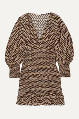 Rhode Resort Anya Shirred Polka-dot Cotton-voile Mini Dress