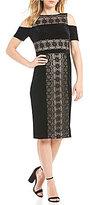 Maggy London Cold Shoulder Velvet & Lace Midi Dress