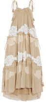 Chloé Crocheted Lace-Paneled Silk-Georgette Dress