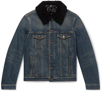 Saint Laurent Slim-Fit Shearling-Lined Denim Trucker Jacket - Men - Blue