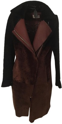 Sandro Brown Shearling Coat for Women