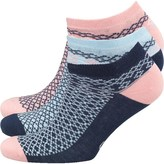 Original Penguin Womens Three Pack Trainer Liner Socks Aztec Blue