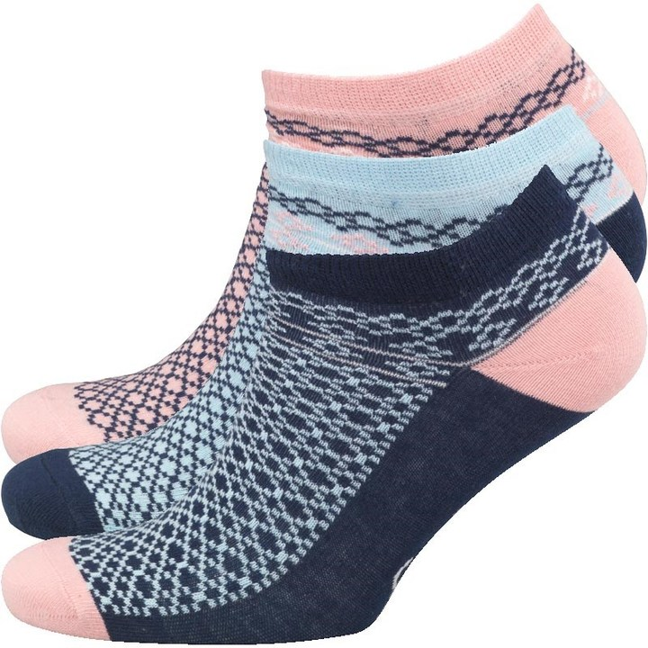 Original Penguin Womens Three Pack Trainer Liner Socks Aztec Blue
