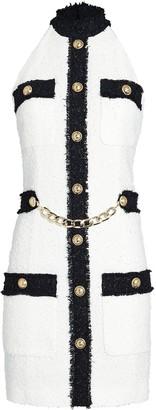 Balmain Halter Tweed Mini Dress