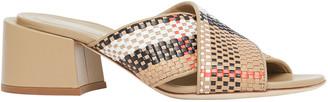 Burberry Castlebar Crisscross Check Woven Slide Sandals