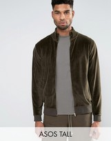 Asos TALL Jersey Track Jacket In Velour