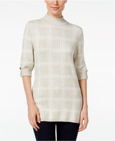 Style&Co. Style & Co. Windowpane Mock-Neck Sweater, Only at Macy's