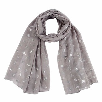 SUKOKOLA Grey Snowflake Foil Siver Printing Scarf Soft Circle Loop Scarves for Women