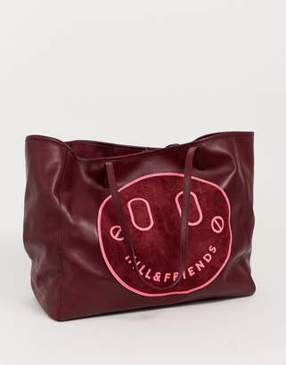 Hill & Friends Hill and Friends Happy leather oxblood slouchy tote shopper bag-Red