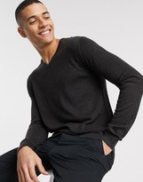 Selected Homme merino wool v neck jumper-Grey