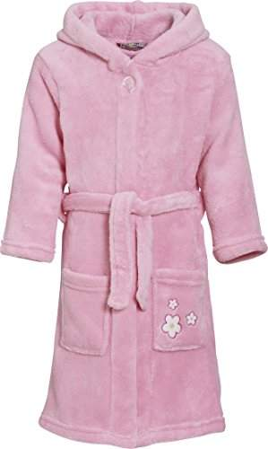 Playshoes Girl's Fleece Hooded Flowers Bathrobe,(Manufacturer Size:11-12 Years)