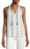 Soft Joie Amalle Striped Embroidered Sleeveless Top, White