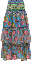 Anjuna - Candy Tiered Printed Cotton-voile Maxi Skirt - Blue