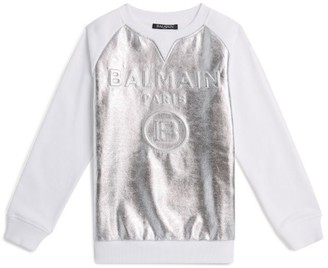 Balmain Kids Holographic Moulded Logo Sweatshirt
