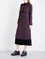 McQ Floral-print silk-satin midi dress