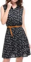Allegra K Women's Floral Prints Sleeveless Belted Shirt Dress Black L